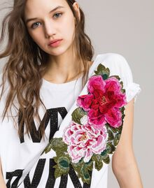 Maxi T-shirt with logo and embroidery White Woman 191MT241E-04