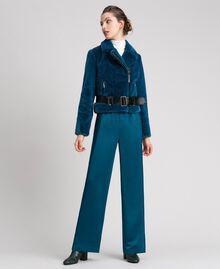 "Giacca chiodo in similpelliccia Blu ""Lake"" Donna 192MP2043-02"