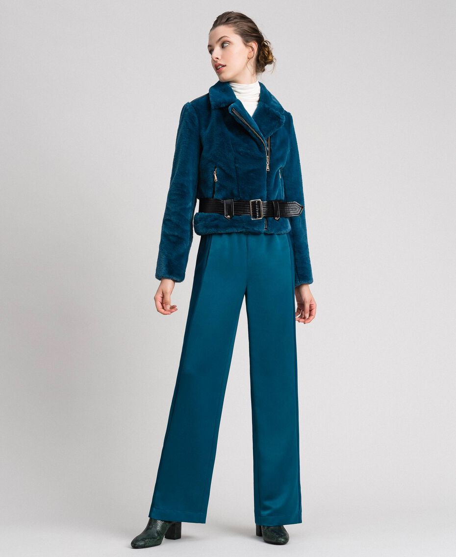Perfecto en fausse fourrure Bleu «Lake» Femme 192MP2043-02
