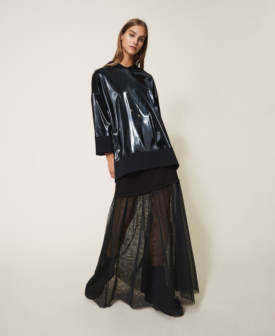 Maxi sweatshirt with patent leather inlays Black Woman 202LI2JAA-01