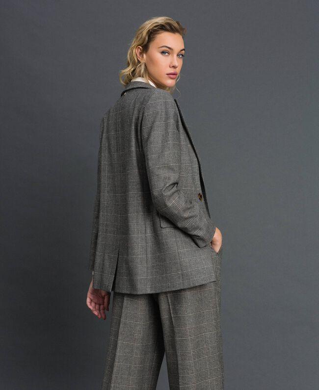 Glen plaid double breasted jacket Lurex Dark Grey Wales Design Woman 192TT2443-04