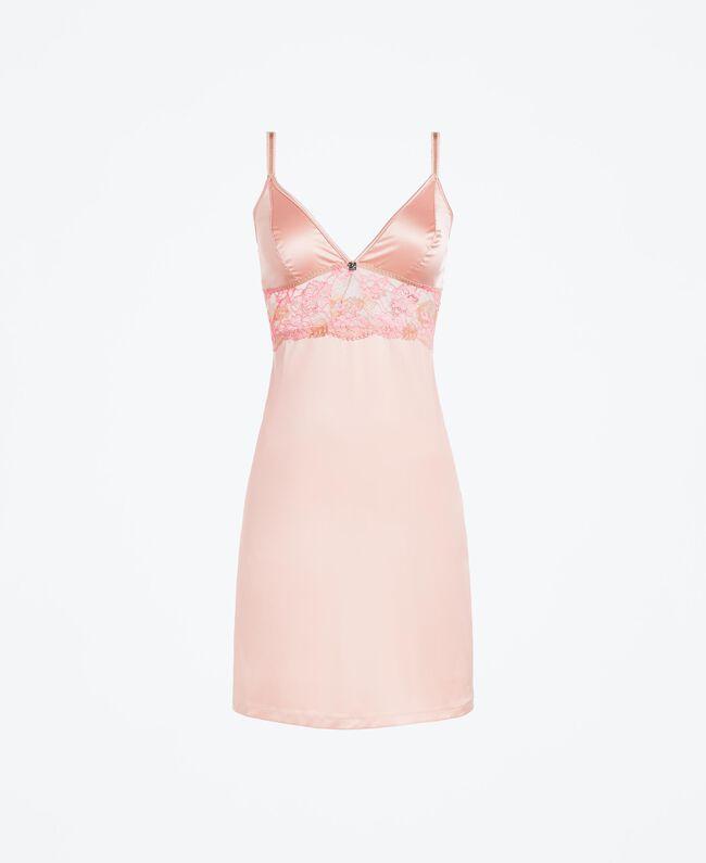"""Unterkleid mit zweifarbiger Spitze Zweifarbig Royal Pink / """"Amber Dust""""-Braun Frau IA8ABB-01"""