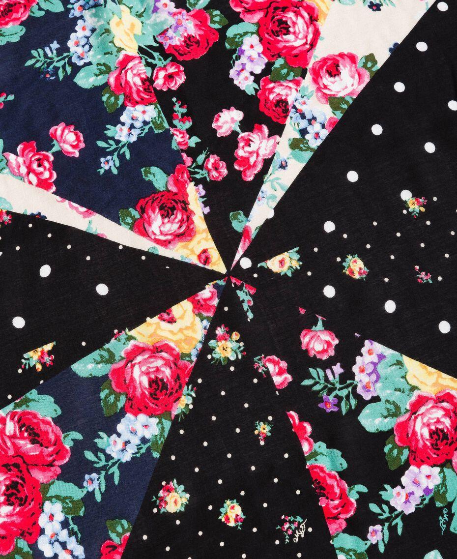 Viskose-Kufiya mit gemischtem Blumenmuster Motiv Gemischt Schwarz Frau 191MA4307-02