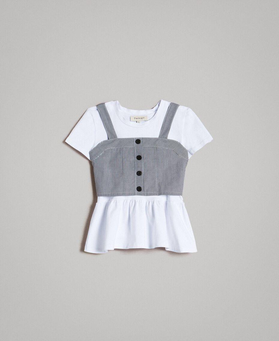 T-shirt en jersey avec top en vichy Bicolore Blanc Optique / Vichy Enfant 191GJ2730-01