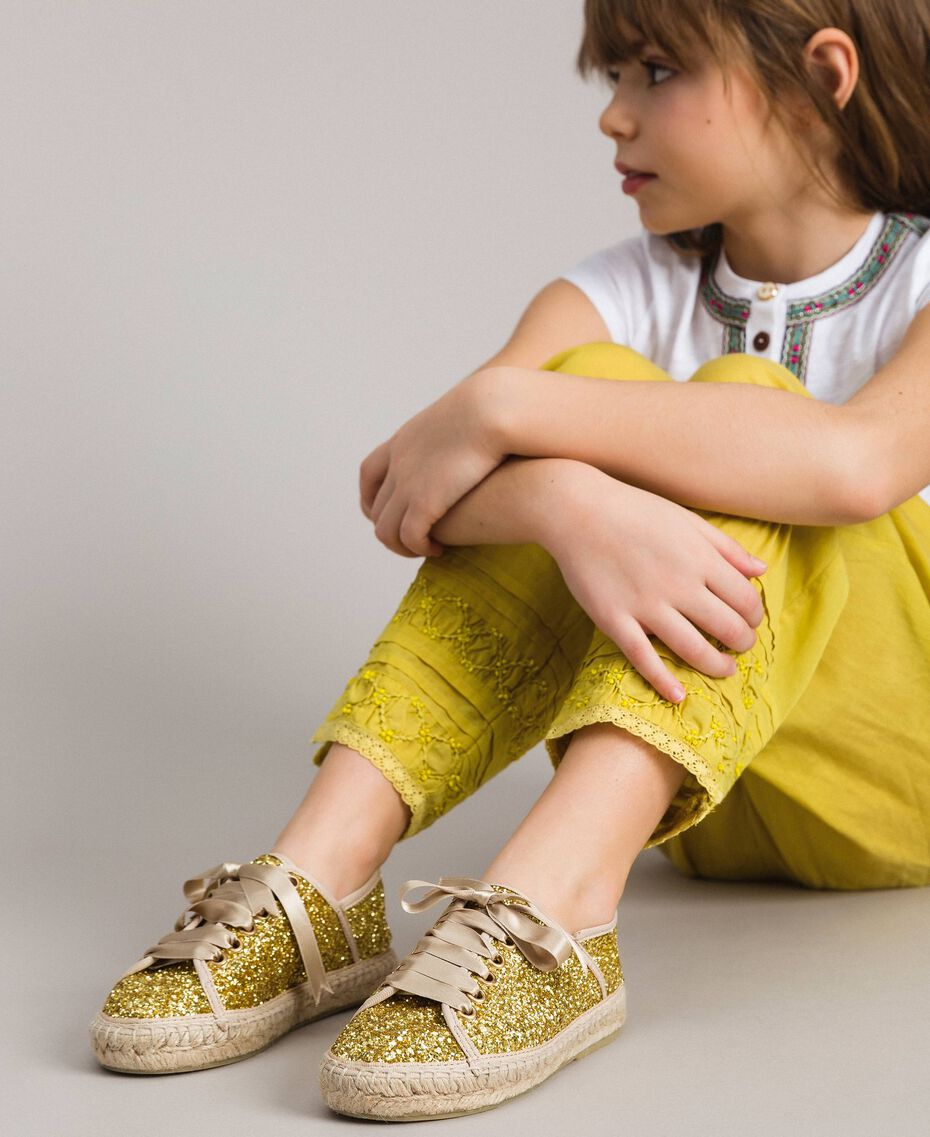 Full glitter espadrilles Gold Yellow Child 191GCJ042-0S