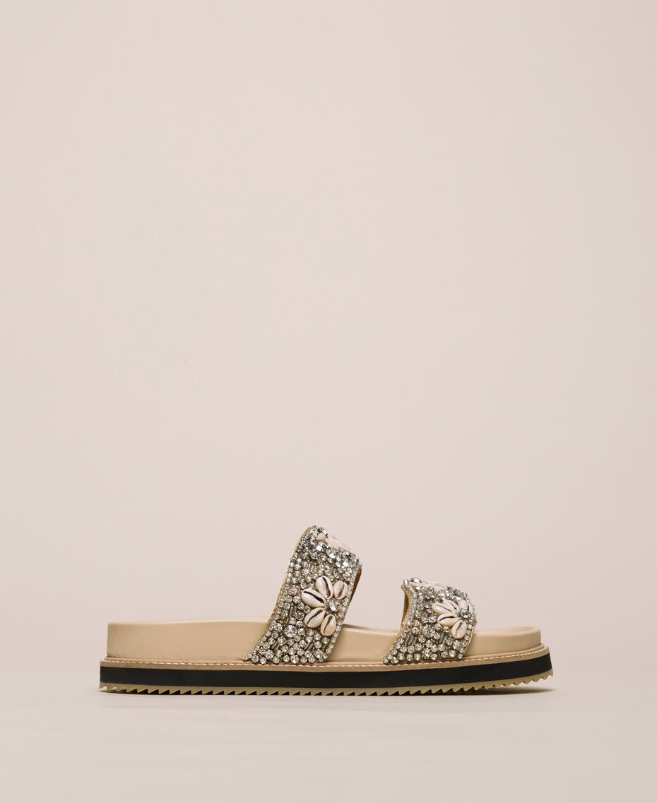 Leather sliders with embroidery Nougat Beige Woman 201TCT022-02