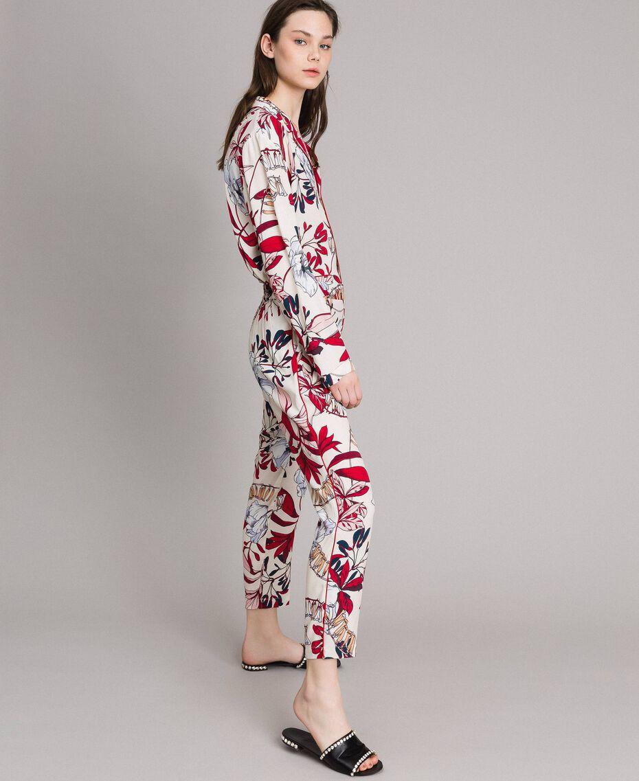Pantalon en crêpe à imprimé floral Imprimé Exotique Écru Femme 191ST2231-01