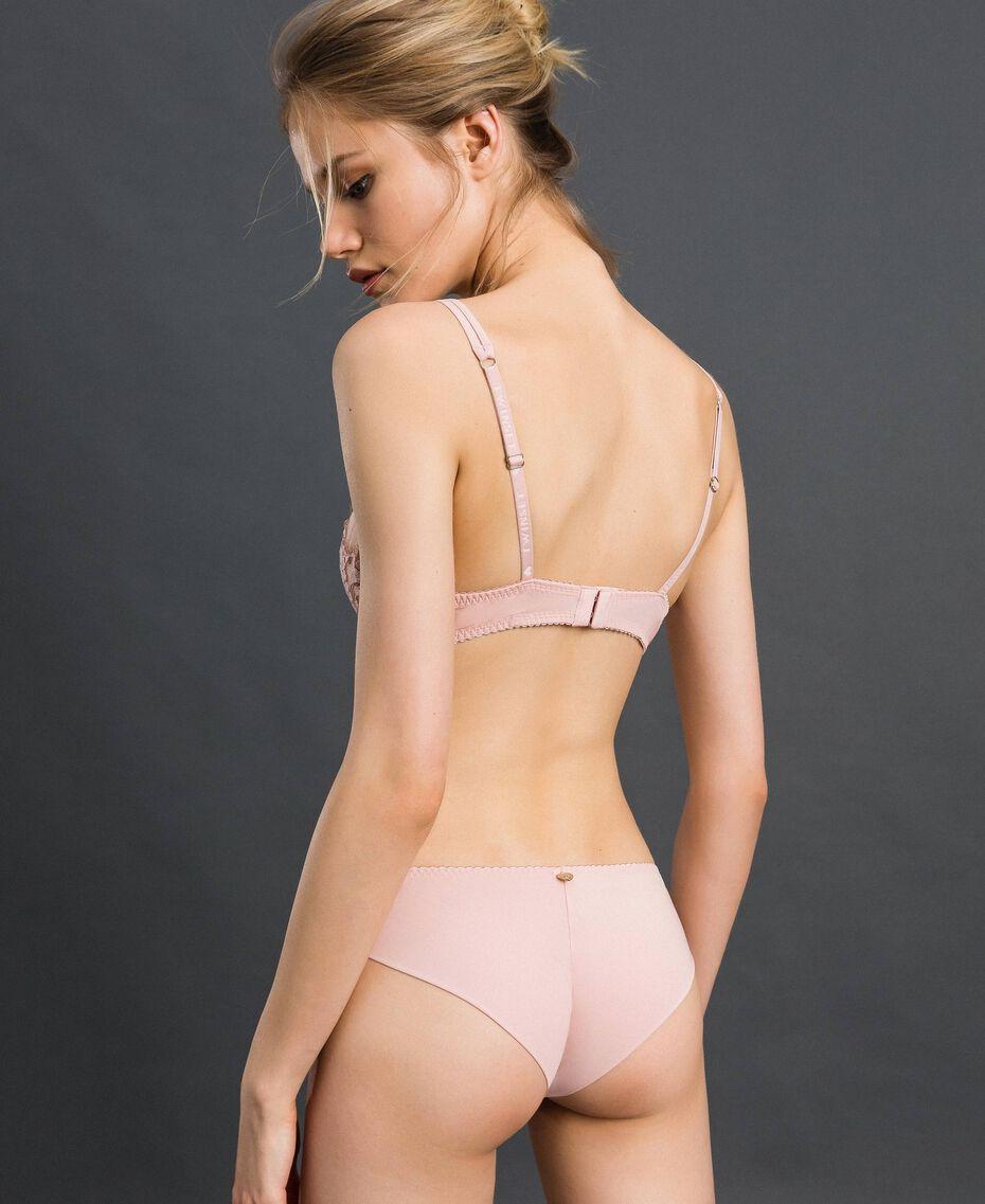Sujetador de encaje y tul con aros Rosa palo Mujer 192LI6155-03