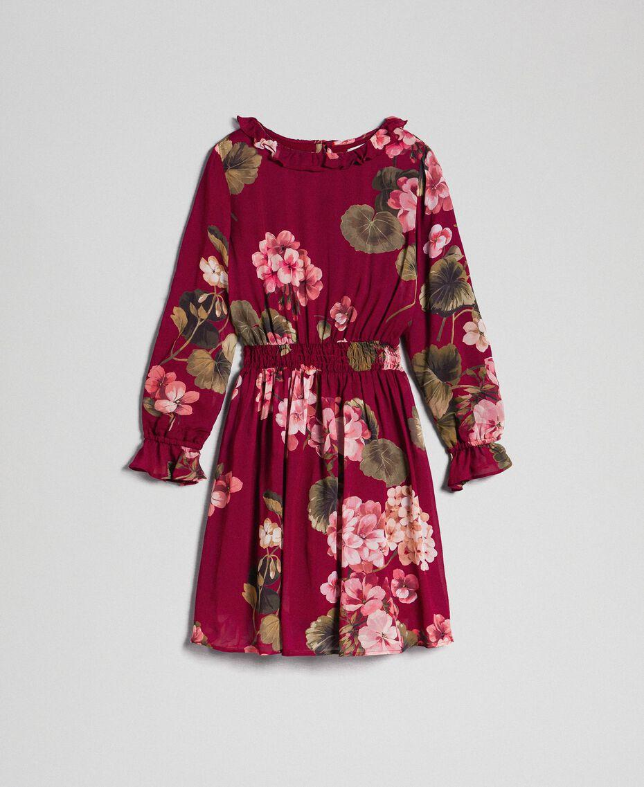 Kleid aus Georgette mit Blumenprint Print Rote-Bete-Rot Geranie Kind 192GJ2592-0S