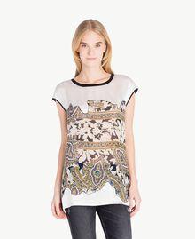 Maxi-T-Shirt mit Rosen Arabeskenprint PA724D-01
