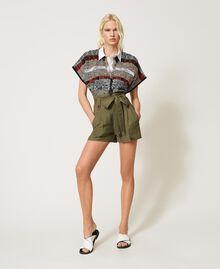 Jacquard cardigan with fringes Multicolour Jacquard Textured Woman 211TT3270-0T