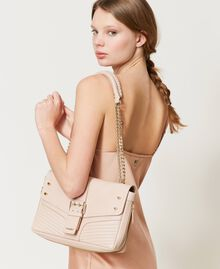 "Large leather Rebel shoulder bag with studs ""Nude"" Beige Woman 202TB7233-0S"
