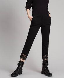Pantalon en point de Milan et dentelle Noir Femme 191TP242H-05