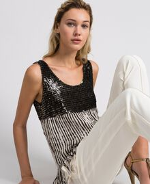 Georgette top with sequins and fringes Dark Gold Sequin Embroidery Woman 192TT2480-05