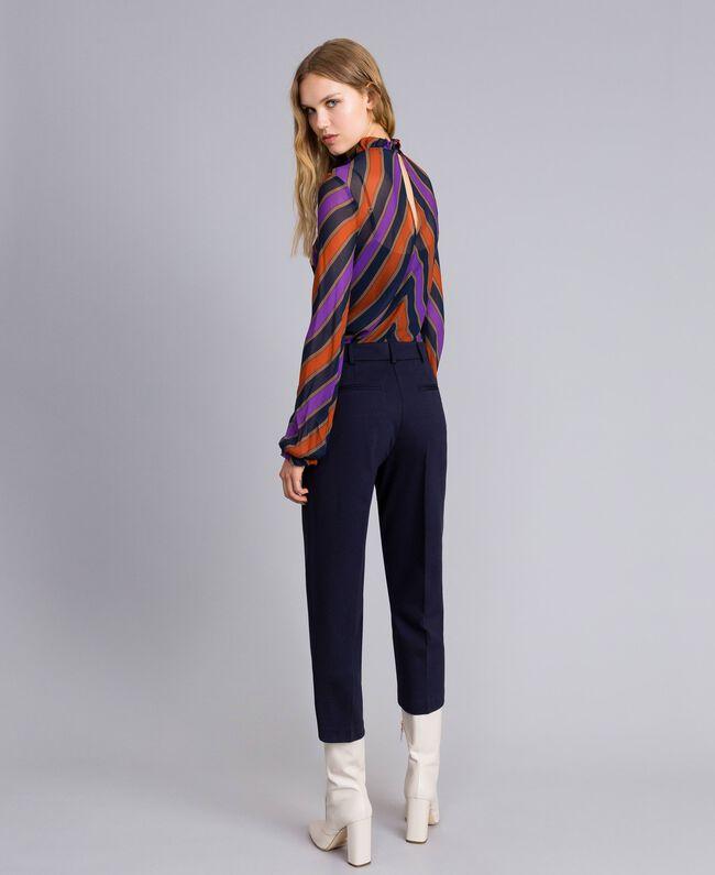 Pantalon en point de Milan Bleu Nuit Femme TA822F-03