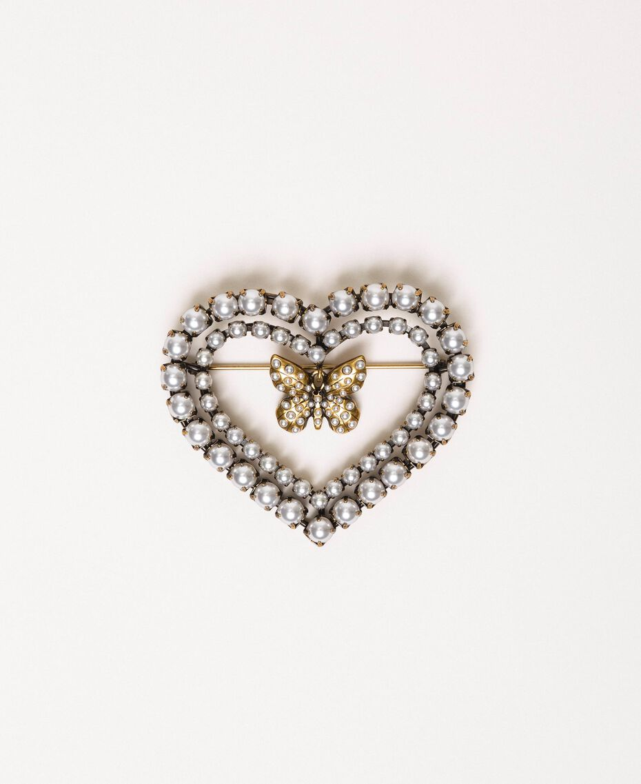 "Heart shaped brooch with butterfly and pearls ""Aged Coppery Brass"" Gold Woman 201TA430G-01"