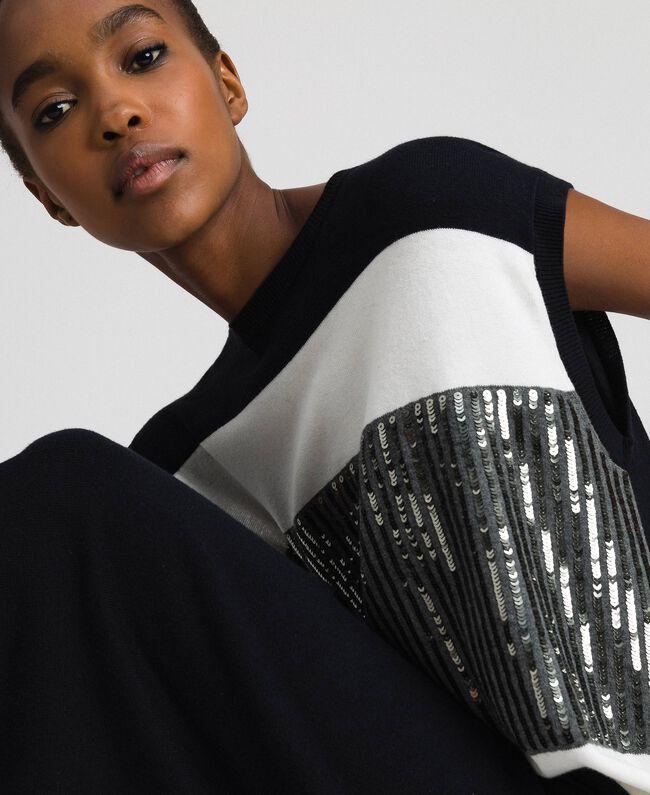 Robe color block avec broderie de sequins Rayé Noir / Blanc «Neige» / Gris Chiné Foncé Femme 192ST3073-03