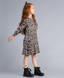 Printed viscose dress Micro Flower Print Child GA82TC-02