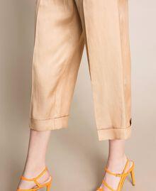 Pantalon cropped en lin mélangé Beige Chocolat au lait Femme 201MT2020-05