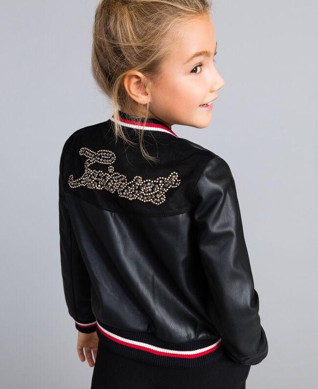Jacke aus Lederimitat mit Stickereien Zweifarbig Schwarz / Mohnrot Kind GA82B1-04