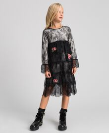 Chantilly lace dress with embroidered roses Two-tone Black / Pale Cream Child 192GJ2670-01