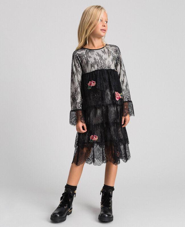 Robe en dentelle de Chantilly avec roses brodées Bicolore Noir / Chantilly Enfant 192GJ2670-01
