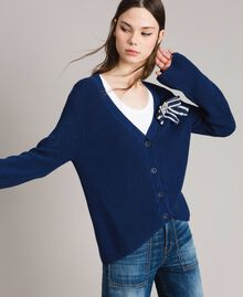 Cotton cardigan with brooch Indigo Woman 191MP3092-02