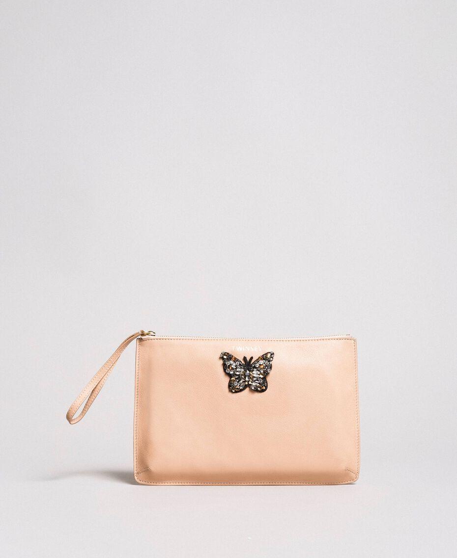 Pochette aus Leder mit Schmetterling Nougat Beige Frau 191TA7290-02