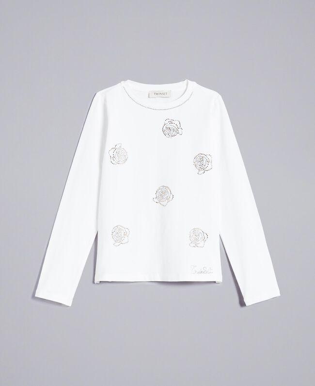 T-Shirt aus Jersey mit Strass Mattweiß Kind GA82SR-01