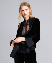 Generous-fit velvet jacket Black Woman TA826R-02