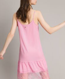 Crêpe de Chine slip dress with lace Hydrangea Pink Woman 191MP2453-04