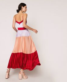 "Pleated satin long slip dress Multicolour ""Lava"" Red / ""Ballerina"" Purple / Nude Pink Woman 201TP2310-03"