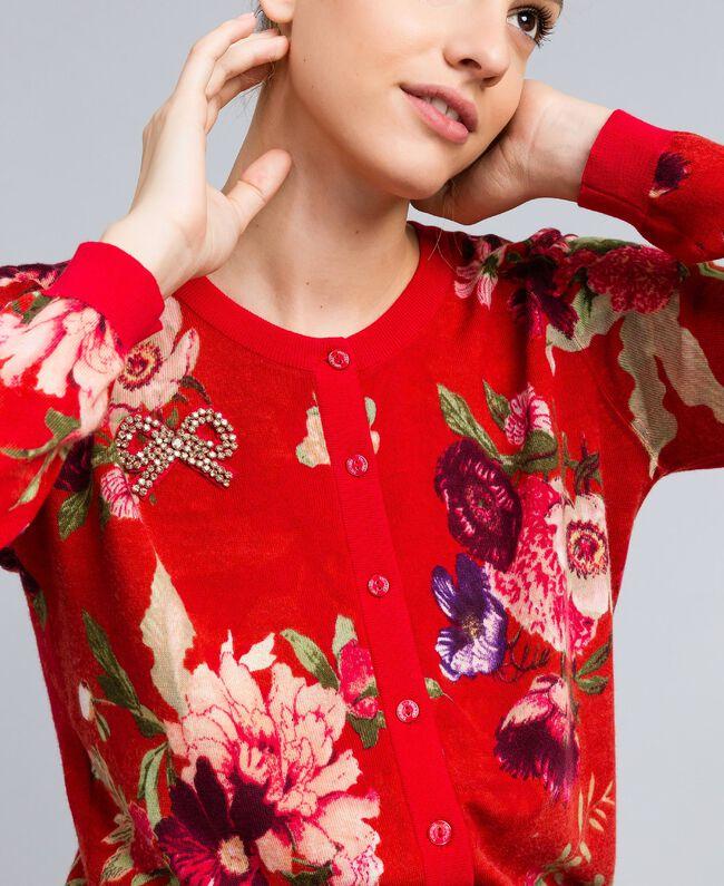 Gilet en laine imprimée Imprimé Jardin Rouge Femme PA83KD-04