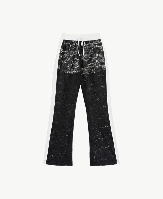 Lace trousers Two-tone Black / Optical White Woman LS89CC-01