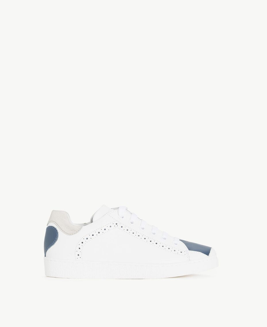 """Heart sneakers Two-tone """"Papyrus"""" White / Ocean Blue Child HS88C1-01"""