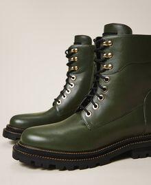 Кожаные ботинки-амфибии на шнуровке Черный женщина 202TCP182-03