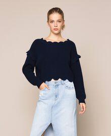 Пуловер квадратного кроя с фестонной отделкой Белый Снег женщина 201TP3021-01