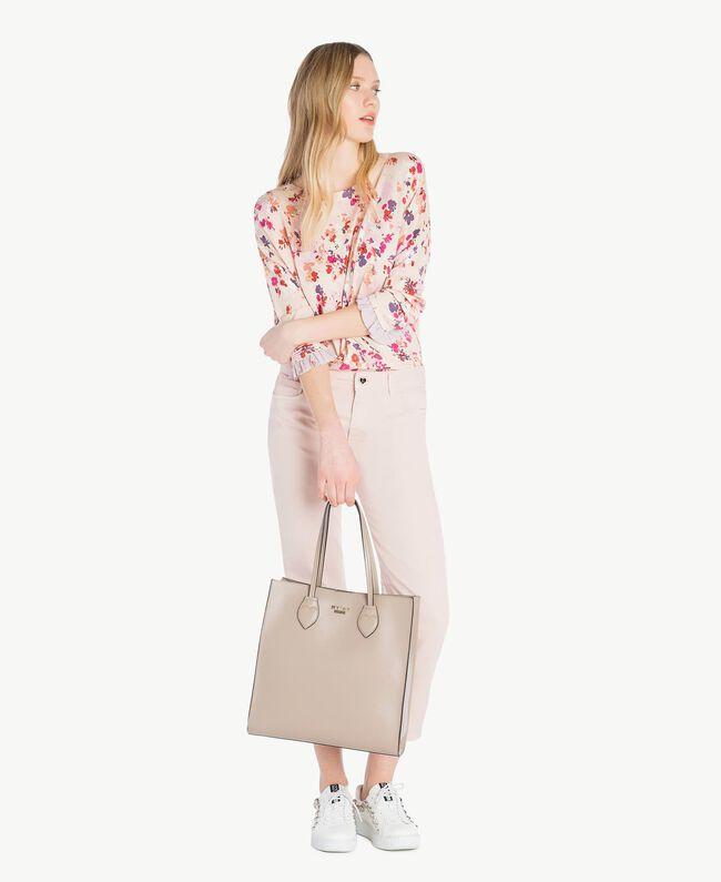 Pullover mit Print Multicolor-Blumen Quarzrosa Frau JS83NP-05