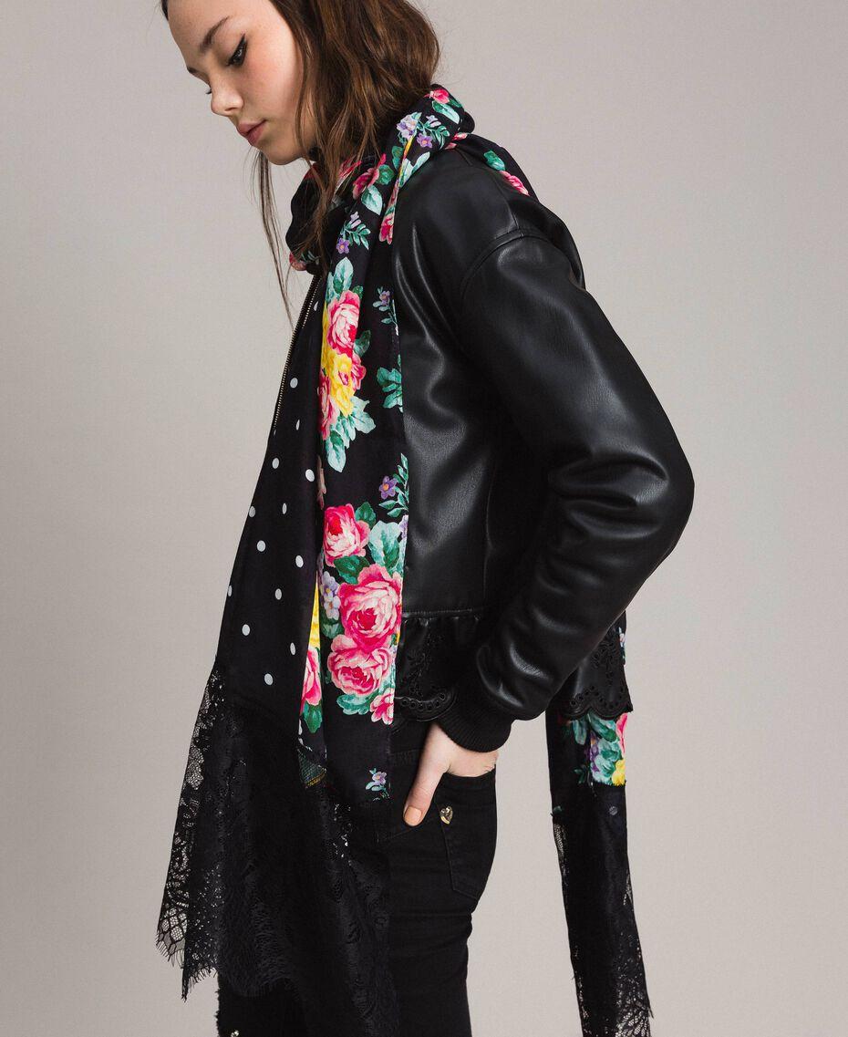 Écharpe en viscose avec imprimé et dentelle Bicolore Imprimé Fleur Noir / Noir Femme 191MA4308-0S