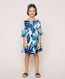 Tropical print dress Blue Polka Dot Tropical Print / Vichy Child 201GJ2302-01