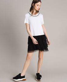 Kleid mit Stickerei und Tüllrock Zweifarbig Weiß / Schwarz Frau 191MP2234-02