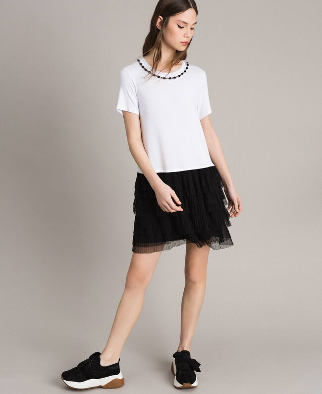 56936f6d8fe Robe avec broderie et jupe en tulle Bicolore Blanc   Noir Femme 191MP2234-02