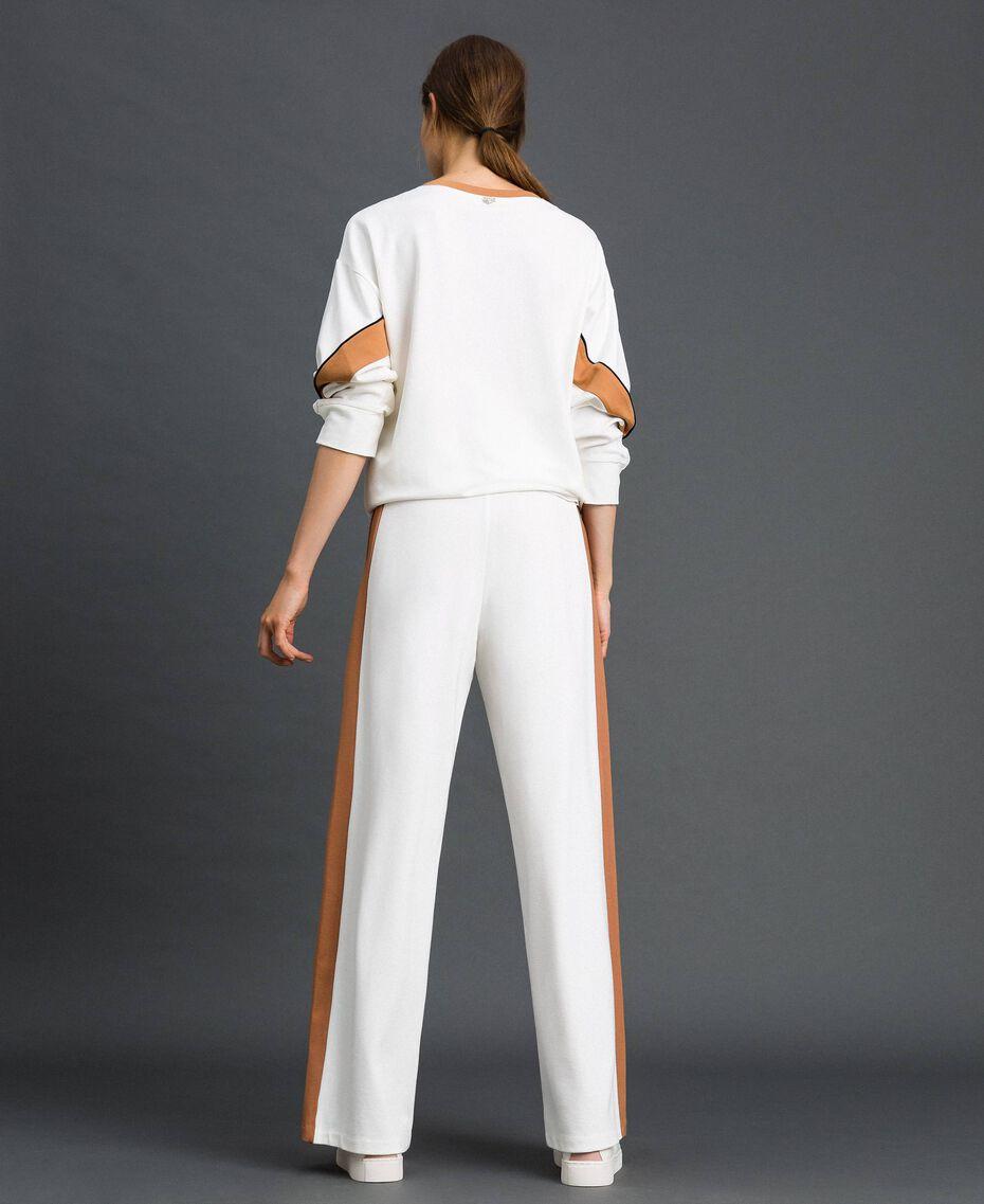 Pantalon palazzo avec bandes contrastées Ivoire / Beige «Camel Skin» Femme 192LI2HCC-03