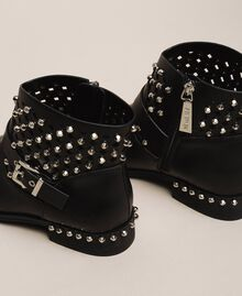Biker boots with rhinestones and logo Black Woman 201MCP040-03