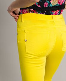 Skinny trousers with rhinestone heart Fluorescent Yellow Woman 191MT2446-05