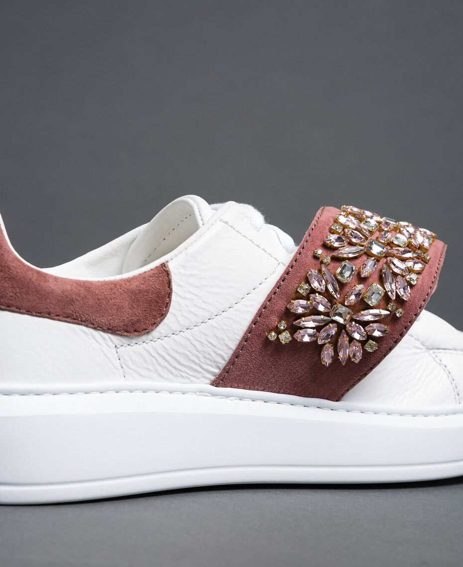 "Leather trainers with rhinestones ""Optical"" White/ ""Nude Pink"" Woman 192TCT110-03"