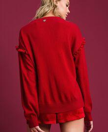 Maglia in misto angora con tulle e pizzo Rosso Ardente Donna 192LL3CUU-02