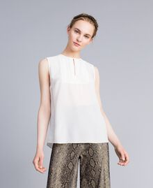 Silk top with micro ruches White Snow Woman PA82EE-01