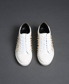 Sneakers in similpelle con strass Bianco Donna 192MCT140-05