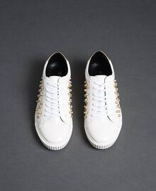 Sneakers de piel sintética con strass Blanco Mujer 192MCT140-05